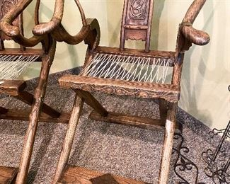 ITEM 2: Two antique Chinese brass-mounted folding magistrate chairs, being sold individually. $1,650 each