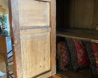 """ITEM 3: Antique large, four door red and gold carved Chinese cabinet. Shelving inside. Excellent piece for storage. 62.25"""" wide, x 70.25"""" tall x 23.625"""" deep  $2,950"""