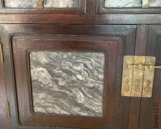 """ITEM 5: Large, Chinese modular kitchen cabinet with scholar's stone marble panels on doors and drawers. 95.25"""" tall, 47.9/16"""" wide, 21"""" deep $2,100"""