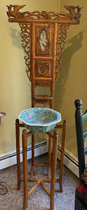 ITEM 6: Antique Chinese washstand with scholar stone inset panel. Bowl included  $750