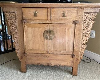 """ITEM 9: antique Chinese wood chest. 40.75"""" wide x 20.75"""" x 33"""" tall $475"""
