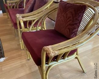 """ITEM 12: Rattan three piece seating set. Loveseat and two arm chairs. 55"""" wide, 33"""" deep, 33"""" tall chair is 32"""" wide. $575"""