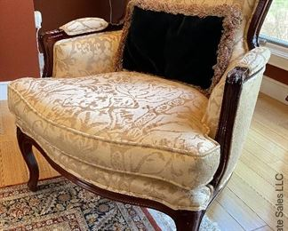 """ITEM 14: Gold damask chairs and loveseat. Very good condition. 64"""" wide, 33"""" deep, 27.5"""" tall chairs: 28"""" wide  $1,850"""