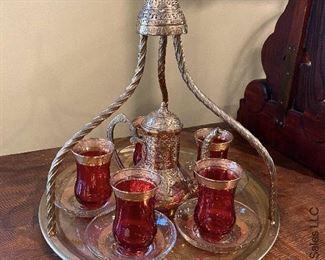 ITEM 21: Moroccan brass tea set  $95