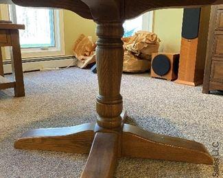 """ITEM 19: Round oak pedestal table. 5' Round. 5'X 29 1/2"""" (H)  $225"""