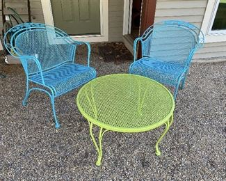 ITEM 24: Green metal side table with two metal chairs painted in shades of blue. Excellent condition.  $195