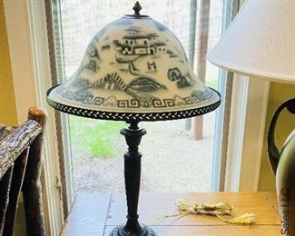 ITEM 27: Table lamp with faux reverse painted shade $48