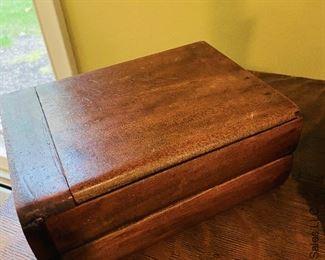 ITEM 29: Wood box with folding mirror  $28