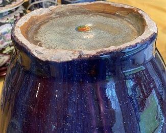 "ITEM 22: Large Chinese purple and blue flambé glaze ceramic lobed vase. 13"" tall, 9"" wide $1,100"