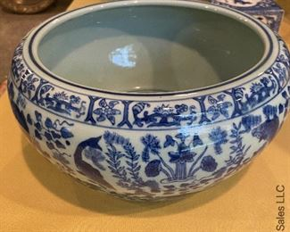 """ITEM 34: Blue and white porcelain bowl, newer. Decorated with koi. 11"""" x 7.5""""  $75"""