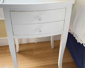 """ITEM 43: Pair white nightstands. Some wear as shown. 19""""X17"""" X 28""""H  $95"""