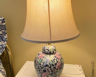 """ITEM 44: Pair Ginger Jar lamps. 23"""" tall. Shades lightly soiled. $130"""