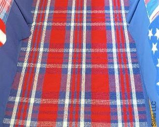 ITEM 49: Pottery Barn Kids Plaid rug(red white&blue)100% cotton 3'X5'  $95