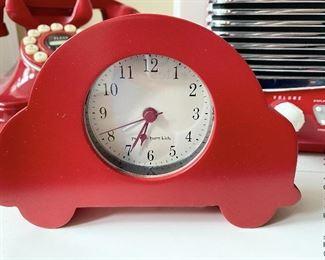 ITEM 54: Patriotic Bird house, Pottery Barn Car Clock, 5 Wooden Apples w/ metal Star Basket, Navy Blue throw Pillow  $55
