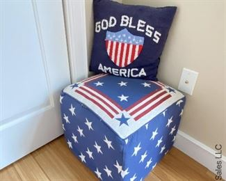 """ITEM 56: Patriotic Star Ottoman (small imperfections)stain & 1"""" seam tear, 3 Patriotic throw pillows.  $45"""