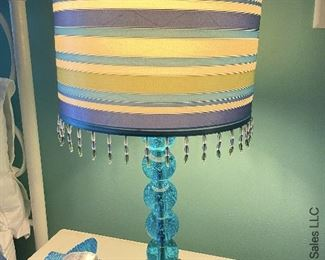 """ITEM 60: Pair bedside lamps with stripe shades 21"""" tall  $60"""