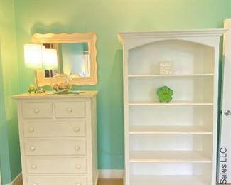 dresser with mirror, bookcase