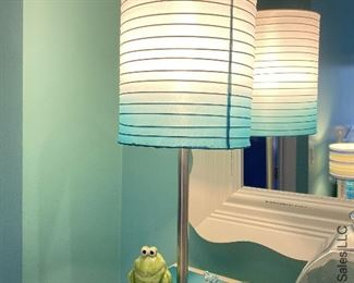 ITEM 64: Blue white hombre shade lamp   $32