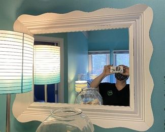 "ITEM 63: White 6 drawer Dresser and white wooden mirror 4'x2' 9""; 26""x 32""  $325"