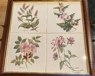 """ITEM 69: botanical tile tray, approx 14"""" x 14""""  $22"""