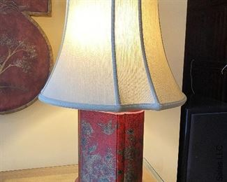 """ITEM 70: Pair red crackle-finish lamps. Made of composite wood. 28"""" tall  $120"""