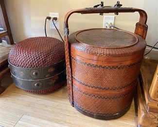 """ITEM 71: Two large Chinese baskets. Largest is 26"""" tall, 20"""" round.   $175"""