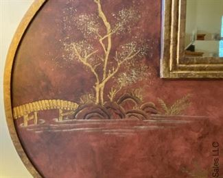 """ITEM 72: Large Chinese motif mirror with beveled glass. 48"""" x 48"""" $385"""