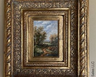 """ITEM 74: Painting in gilt wood frame. 17 1/2 """" (L) X 15 1/2 (W)  $145"""