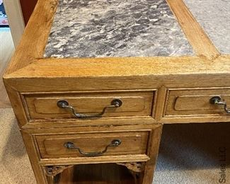 """ITEM 78: Antique Chinese marble inset panel two-sided desk 55"""" (L) X 28"""" (W) X34"""" (H) $1,400"""