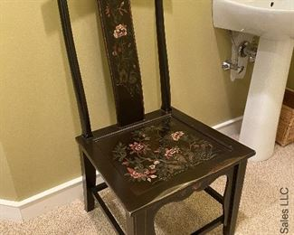 """ITEM 82: Chinese painted chair. 20"""" (L) X 18"""" (W) X43"""" (H), Seat 17"""" (H)  $65"""