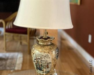 ITEM 84: Gold and yellow porcelain vase lamp  $95