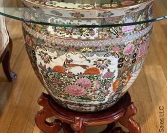 """ITEM 85: Large famille rose jardinière with stand and glass top. glass top is approximately 30"""" round.  $225"""