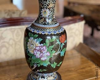 ITEM 86: Cloisonné black background with peonies lamp  $95
