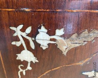 ITEM 88: Antique Chinese commode with inlay. Missing inlay as shown. $225