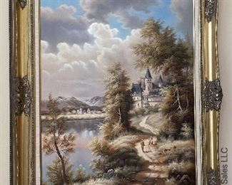 """ITEM 90: Large painting, castle and countryside, 30"""" x 48""""  $225"""