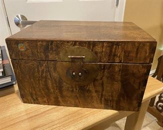 """ITEM 95: Chinese box with brass hardware, approximately 13"""" x 9"""" x 9"""" $75"""