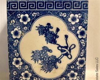 ITEM 98: 20th century blue and white rectangular vase  $35