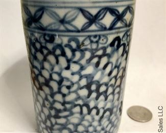 ITEM 100: 20th century blue and white brush cup  $28