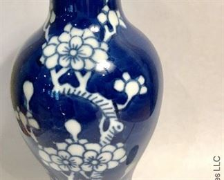 ITEM 101: 20th century small blue and white vase with flared top  $28