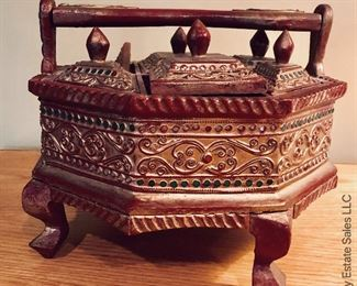 ITEM 111: Chinese carved wood box, gilt and red paint   $48