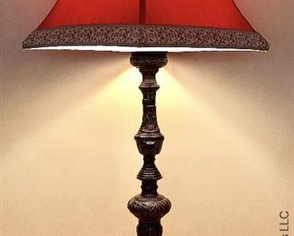 ITEM 116: Heavy base, tall lamp, red shade  $55