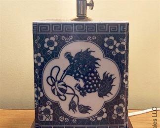 ITEM 117: rectangular blue and white porcelain lamp   $65