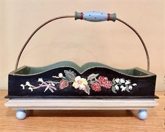 ITEM 119: Tracy Porter painted wood basket with handle $40