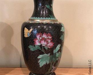 ITEM 120: Pair black cloisonné vases  $125