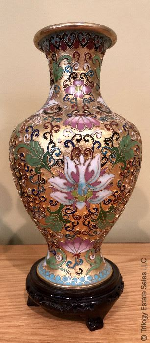 ITEM 123: Pair cloisonné vases; one has a bent lip on the top edge, selling as is.   $95