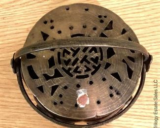 ITEM 125: antique pierced metal hand warmer with lid  $30