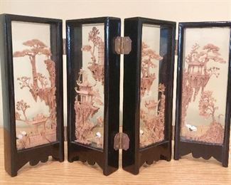 ITEM 127: Small enclosed carving in folding screen  $36
