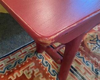 ITEM 131: Rustic-look red bench  $65