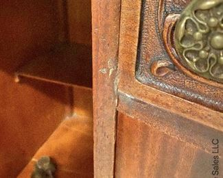 """ITEM 137: Carved sideboard with removable mirror back, 5' (L} X 2' (D) X. 3'2"""" (H), with mirror 4' 6 1/2"""" (H)  $325"""