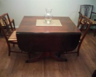 17. antique drop leaf mahogany table and 6 chairs plus 2 leaves $125  and pad good condition. From the 1940's